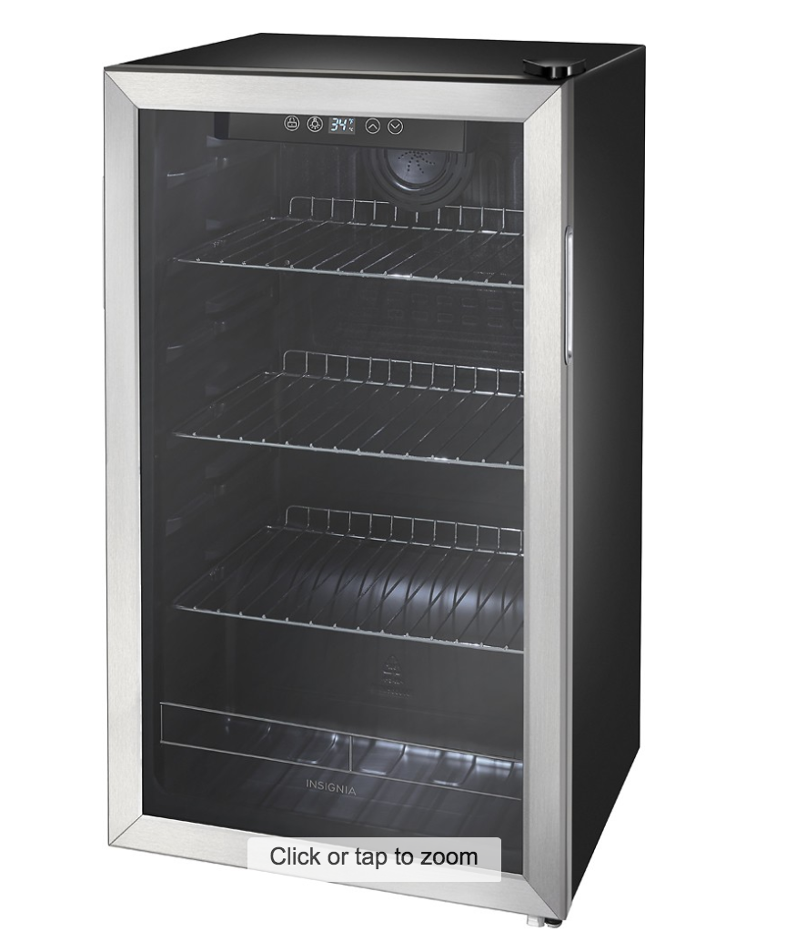 Insignia™ - 115-Can Beverage Cooler - Stainless steel/Silver