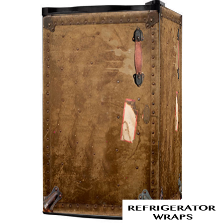 Vintage Army Trunk Mini Fridge Wrap