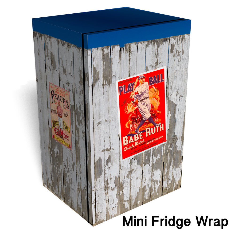 Vintage Baseball Worn Fence Mini Fridge Wrap