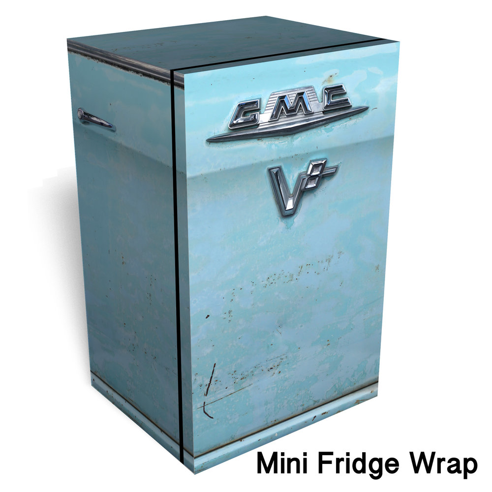 GMC V8 Blue Mini Fridge Wrap