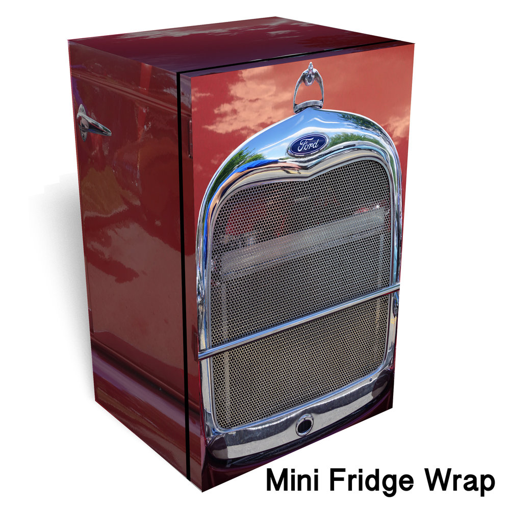 Hot Rod Red Chrome Mini Fridge Wrap