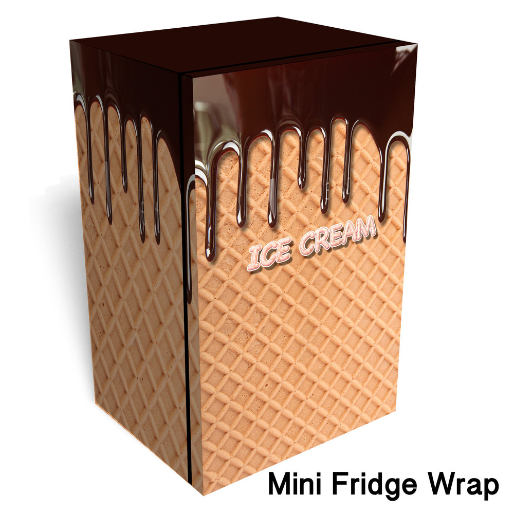 Ice Cream Cone Chocolate Dripping Mini Fridge Wrap