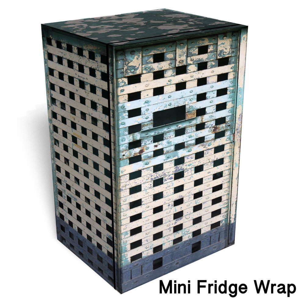 Jail Cell Bar Mini fridge Wrap