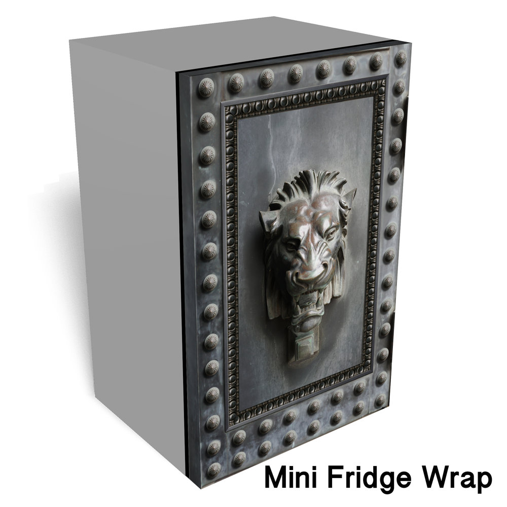 Lion head Metal Mini Fridge wrap