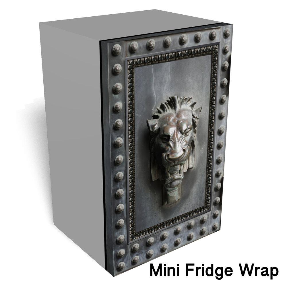 Lion Head Metal Mini Fridge Wrap
