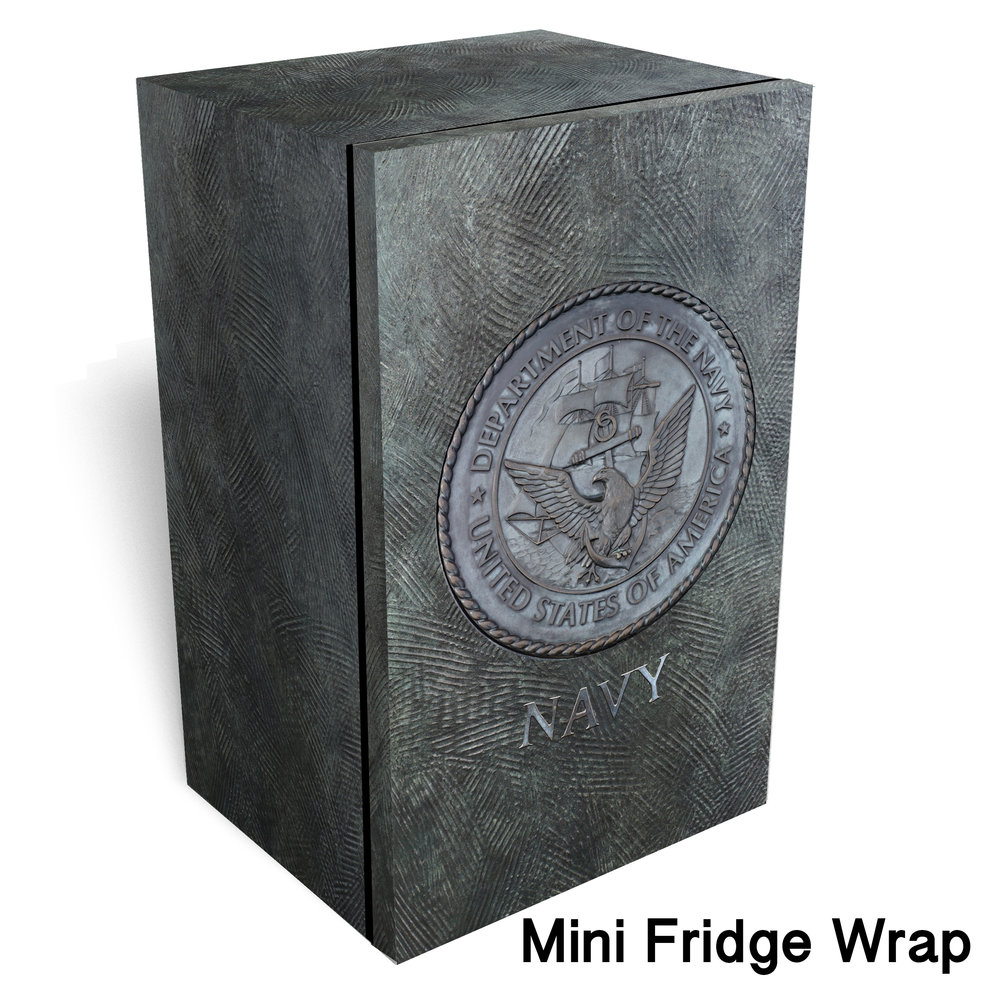 Navy logo Metal mini fridge