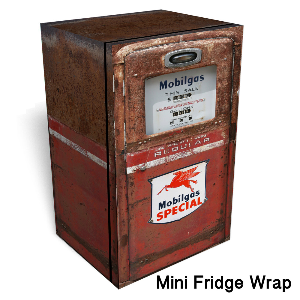 Mobilgas red Rust Mini Fridge wrap