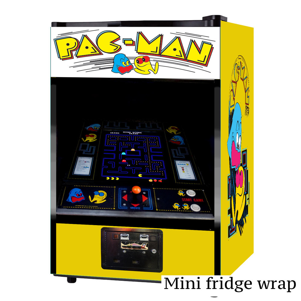 pacman arcade machine mini fridge wrap