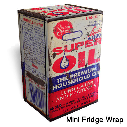 Super Oil Can Mini Fridge Skin