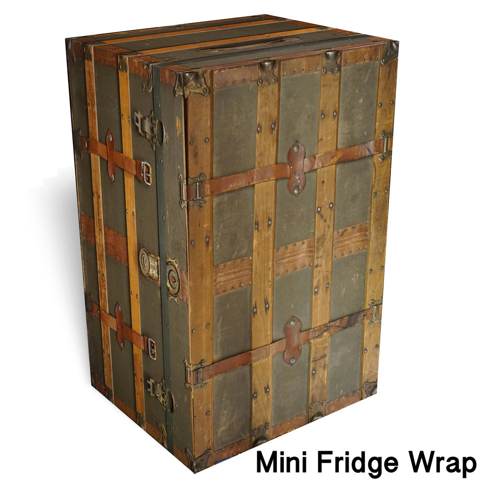 Chest trunk Vintage mini fridge wrap