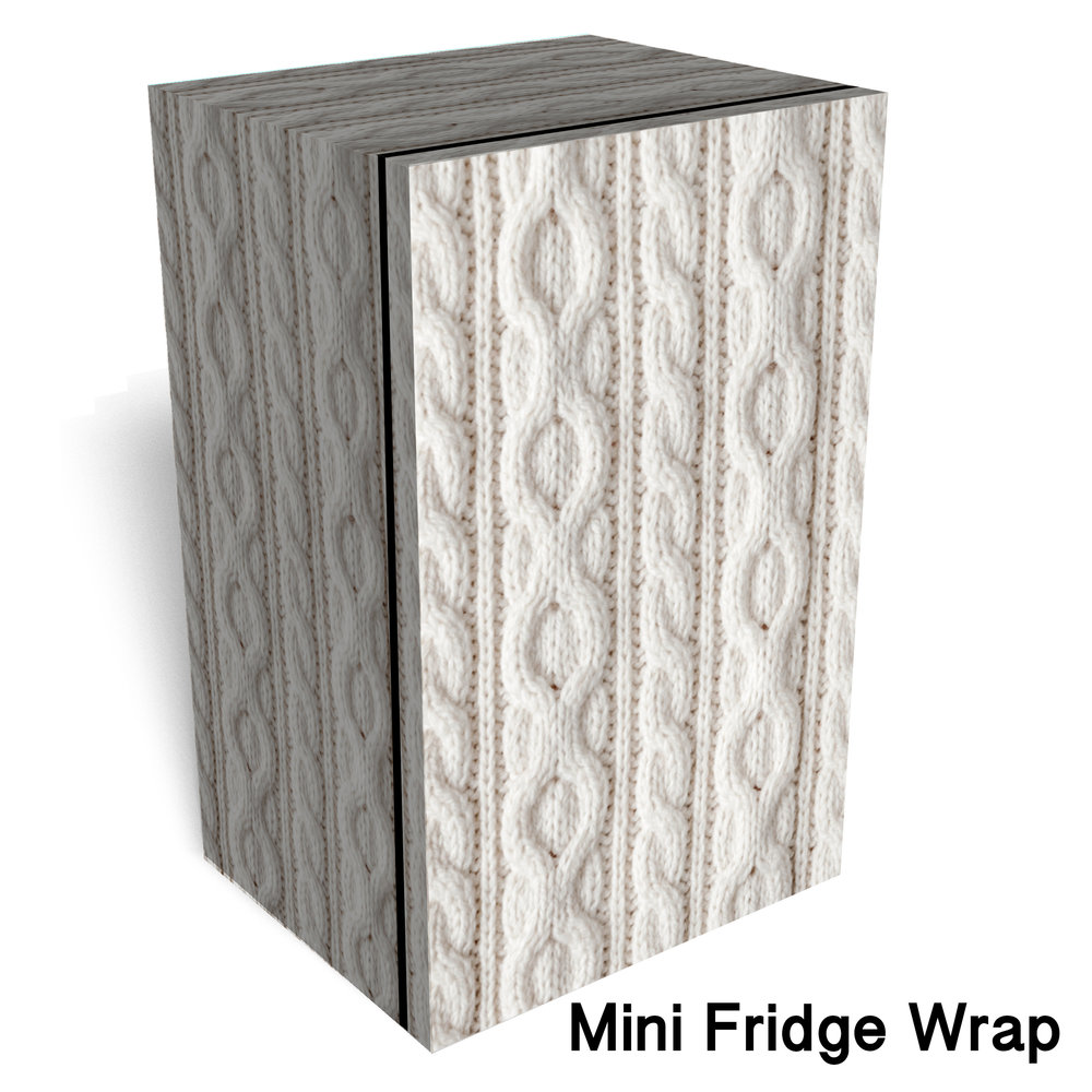White Knit Fabric Mini Fridge Wrap