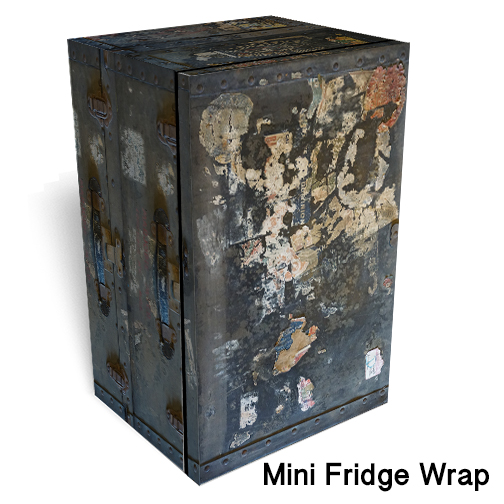 Worn trunk mini fridge skin
