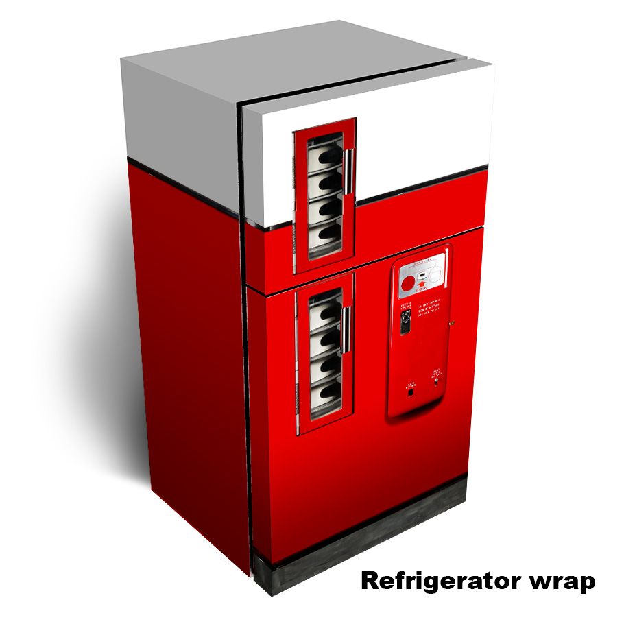 Red Clean Vending Machine Refrigerator Wrap