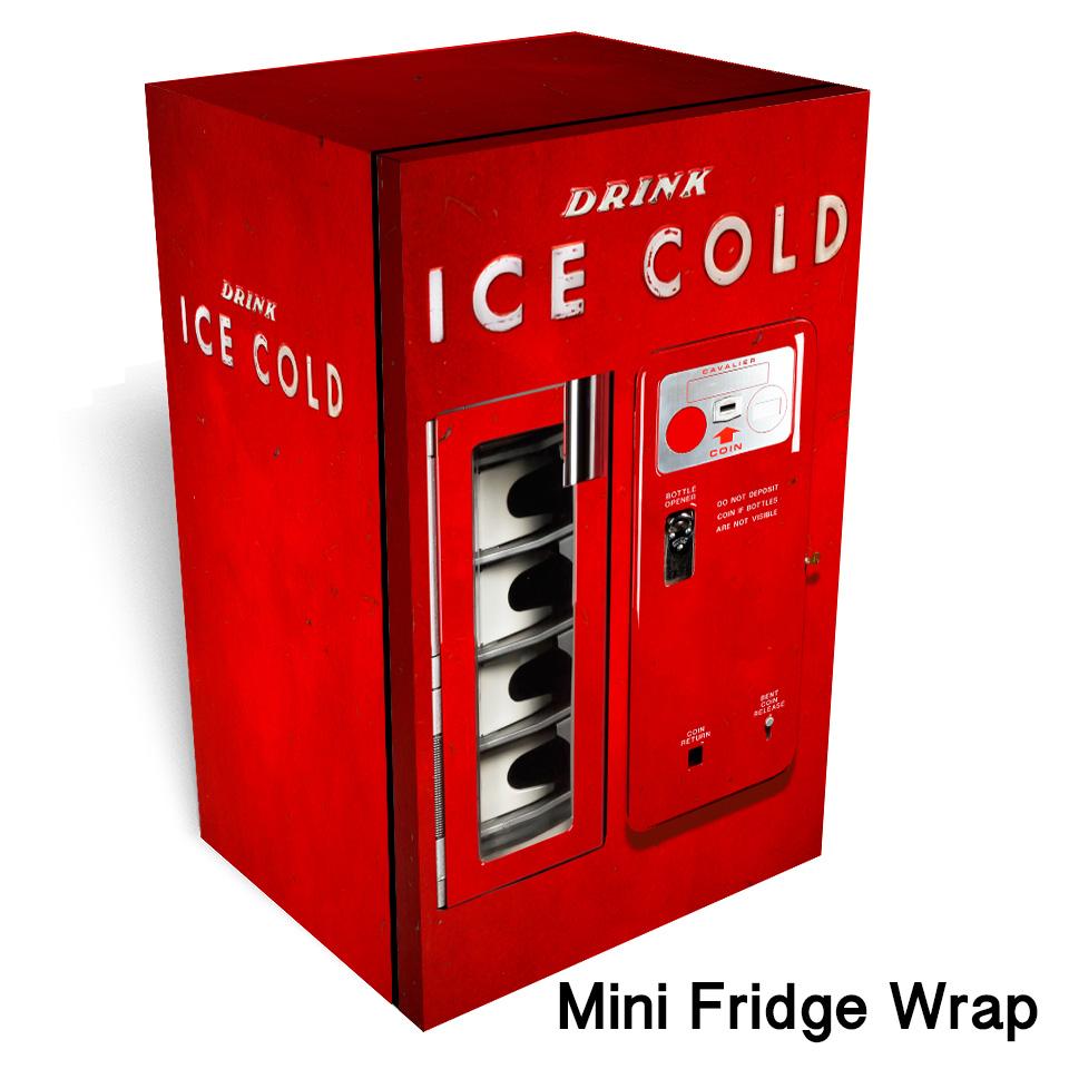 Vintage Worn Red Vending Machine Mini Fridge Wrap