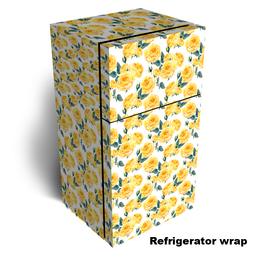 Yellow English Roses Refrigerator Wrap