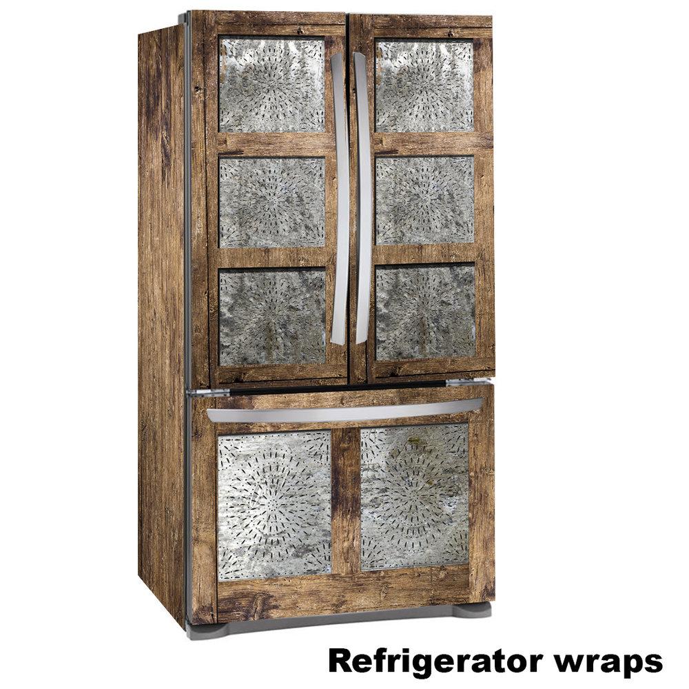 Tin Pie 3 Door Refrigerator wrap, Punched Tin Pie Safe