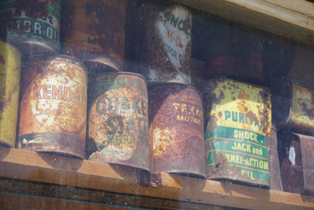 Old rust oil cans