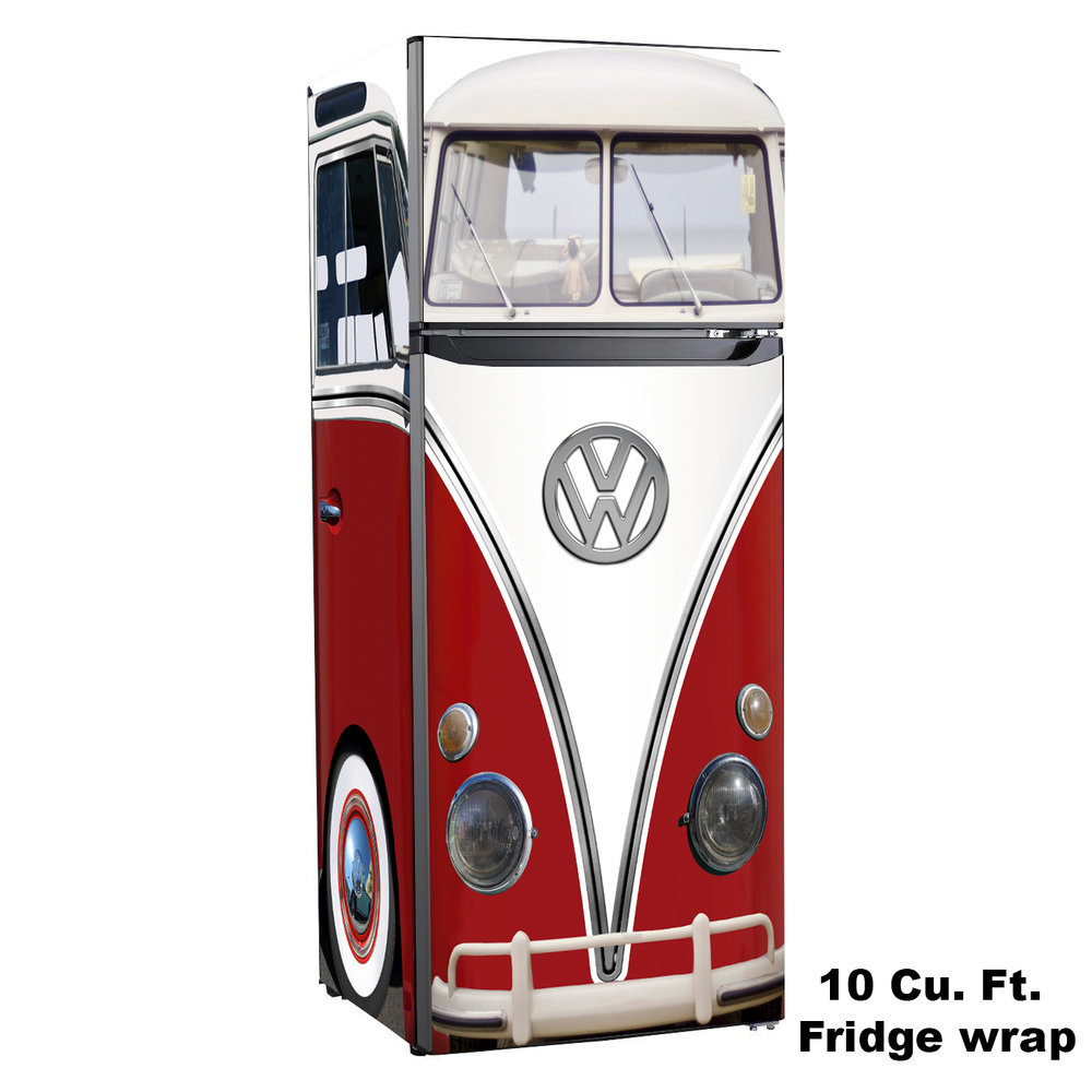 Vw Bus, 10 cu. ft. Fridge, Design Skin, rm wraps, vw red bus