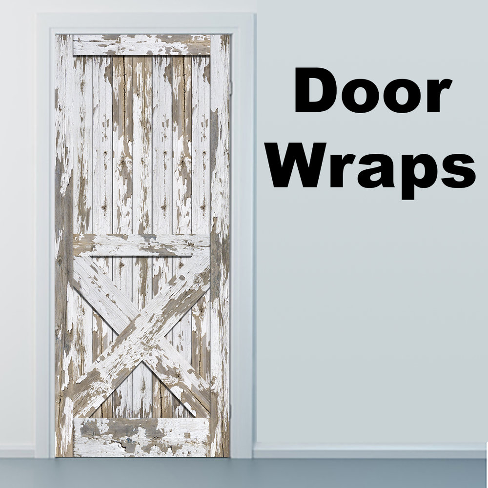 Weathered, White, Barn Door, Wrap, Rm wraps