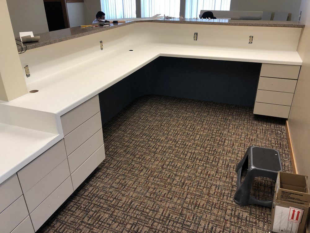 Reception desk wrap