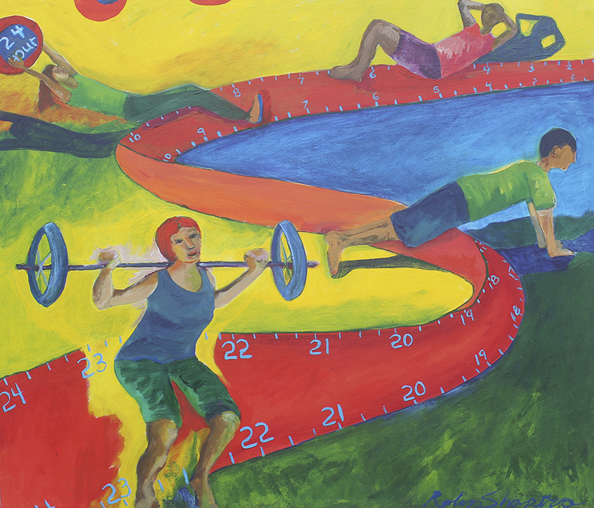 "24 Hour Fitness   by  Robin Shapiro   acrylic on canvas  28"" x 32""  Being connected to my body and exercising are essential parts of my wellbeing and daily routine. 24 hour fitness was the perfect company for me to choose. The variety of services the company offers, the diversity of the population participating in the countless activities, and the 24 hour access to the gym, were the key elements I wanted to represent. The winding time line that meanders through the painting represents the individual's personal journey in their own relationship with exercise. The journey continues 24 hours a day and hopefully, throughout a persons' life. Finally, the vibrant colors represent the feelings one experiences after a great work out."