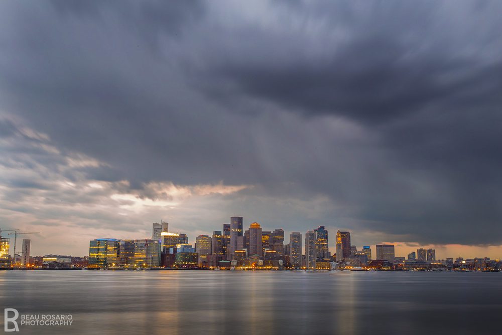 This shot was followed by a mile-long highway longboard ride in the thunderstorm seen in the picture. Worth the near-death experience. For those of you visiting Boston, park a mile or two away from the airport and work your way around it to the waterfront if you want a killer view of the city.