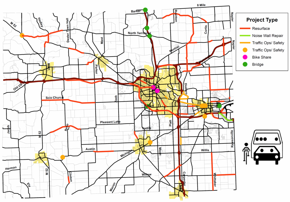 Map of Washtenaw County's Obligated Transportation Projects from FY 2013