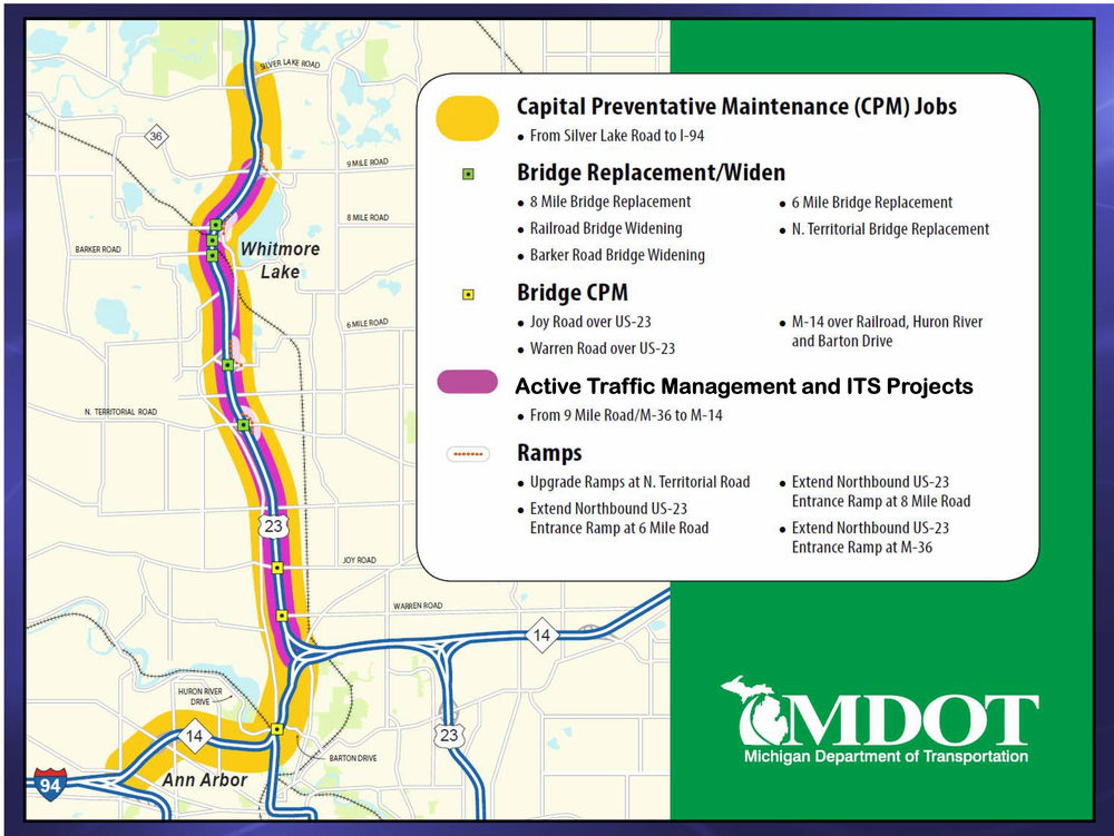 A map showing the project extent, running from the Tri Level Bridge near Ann Arbor to Silver Lake Road.