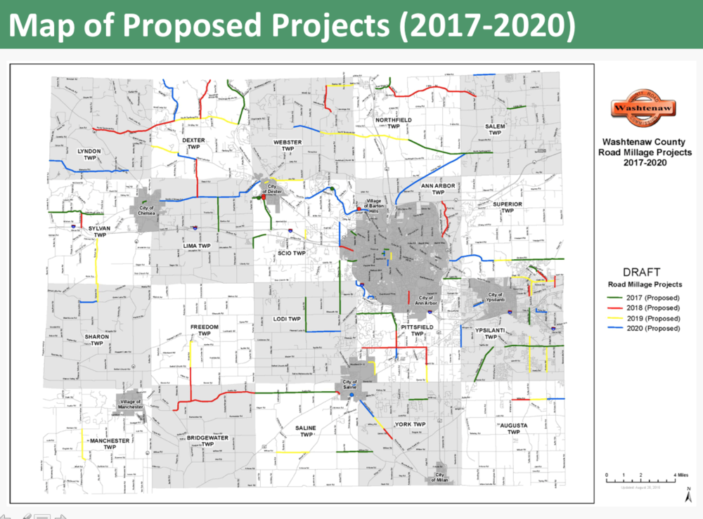 Map of Washtenaw County Roadway Improvements if the November millage is approved. For more details visit http://www.wcroads.org/article/washtenaw-county-road-millage