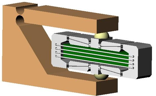 Figure 1 – Using Spherical Endcaps in a Flexure frame to isolate Piezo-Actuator from Lateral or Moment Loading