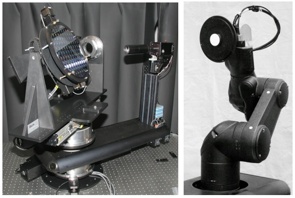 Traditional Custom Goniometer (L) and TX60 Adapted for Use in Materials Characterization (R)
