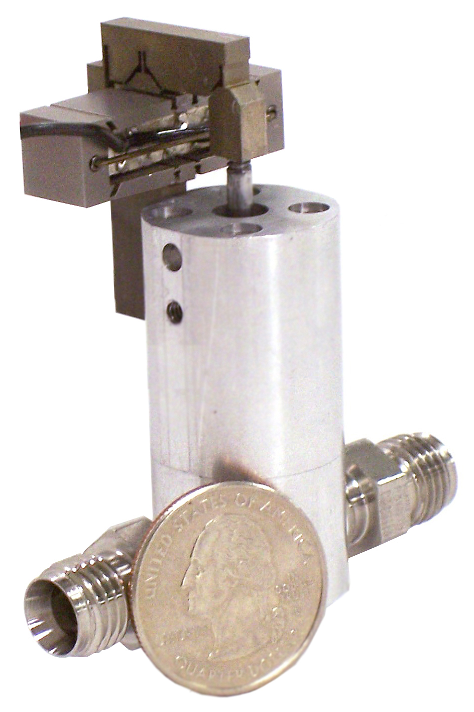 Scale of valve controlled by piezo actuator.