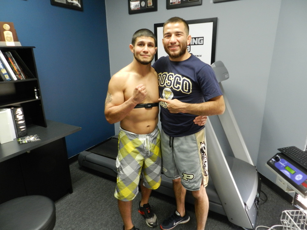 Joe Stevenson and juan archuleta training hard at the treigning lab.