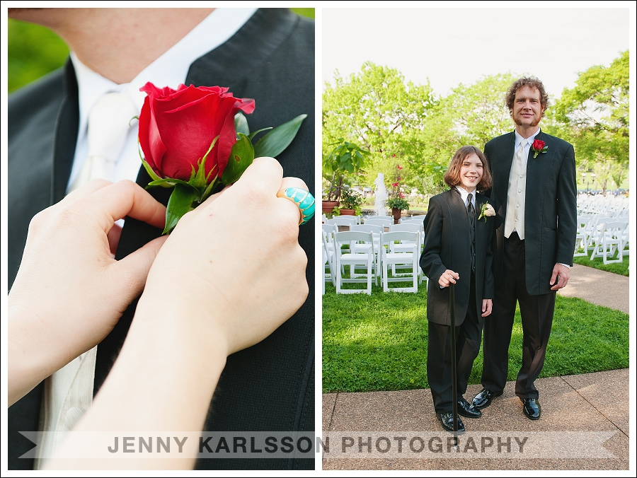 Father and son before wedding ceremony at Phipps Botanical Garden