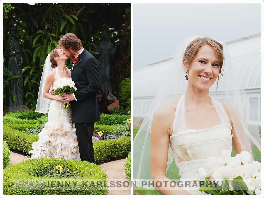 Bride and groom portraits in the broderie room at Phipps Conservatory and Botanical Garden