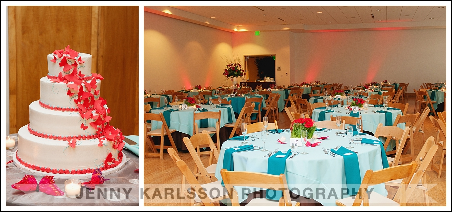 The beautifully decorated reception in the event room at Phipps Conservatory and Botanical Garden