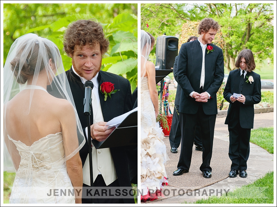Groom reading his wedding wovs to the bride at  Phipps Conservatory and Botanical Garden