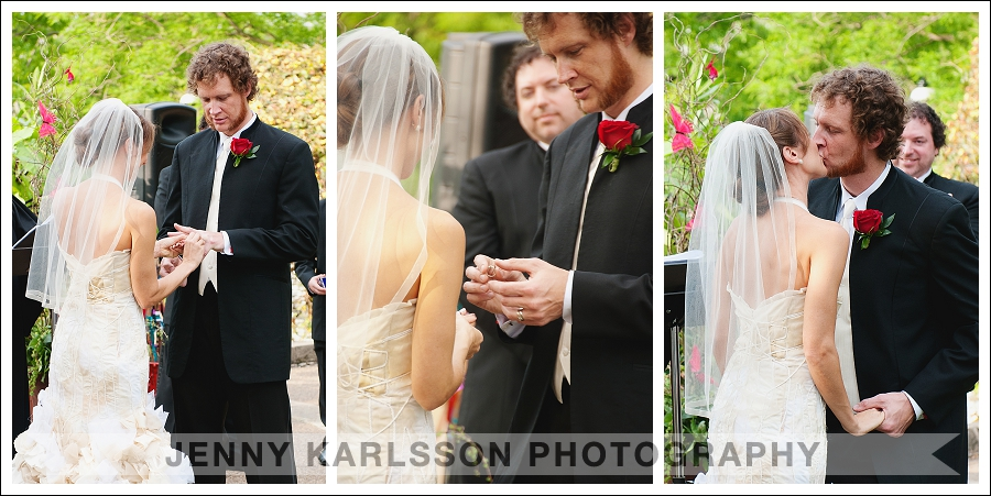 Ring exchange and first kiss at Phipps wedding ceremony