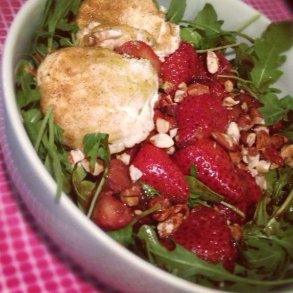 Warm strawberry & goat cheese salad with toasted almonds, arugula and honey strawberry vinaigrette