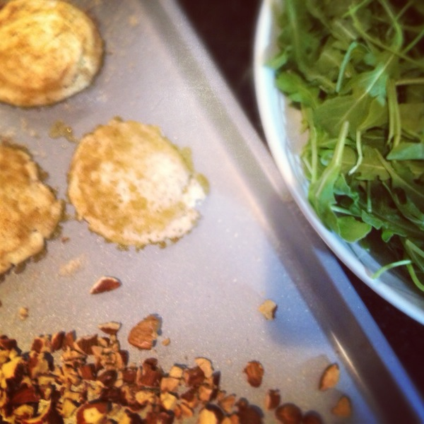 Warm goat cheese, toasted almonds and arugula