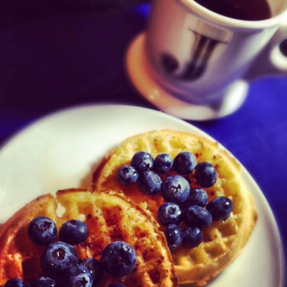 Gluten free blueberry waffles with blueberry tea!