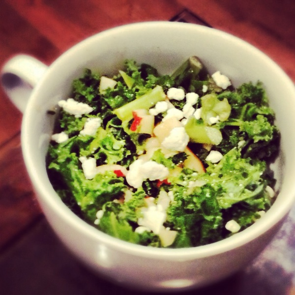 Kale Apple Lemon Ginger Salad (Goat Cheese Optional)