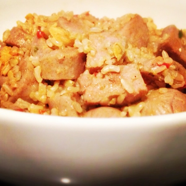 Italian Chicken Sausage, Brown Rice and Tapenade