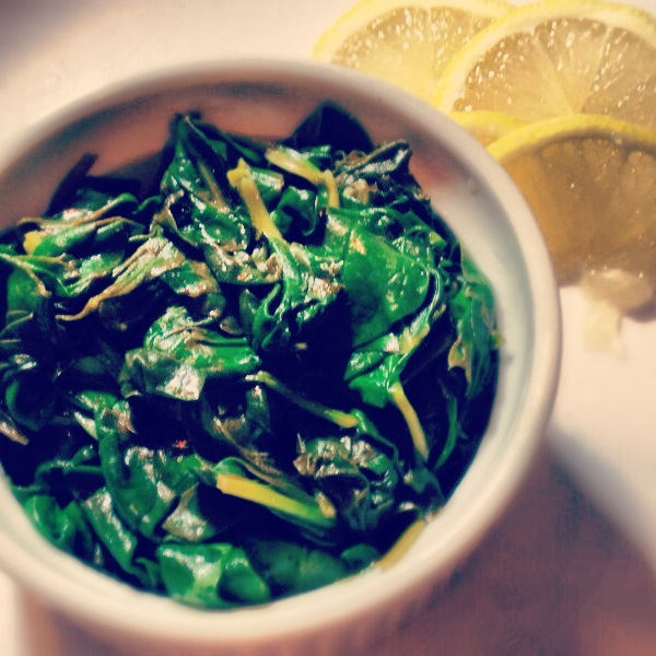 Wlted spinach with lemon.
