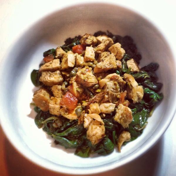 Lemon Olive Chicken over Wilted Spinach