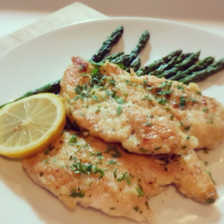 Gluten Free Chicken Francese over Asparagus
