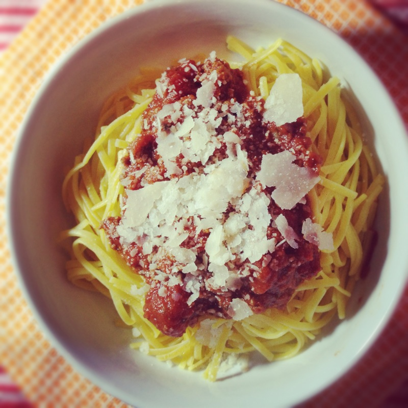 Bolognese Sauce over Gluten Free Pasta with Parmesan Cheese.JPG