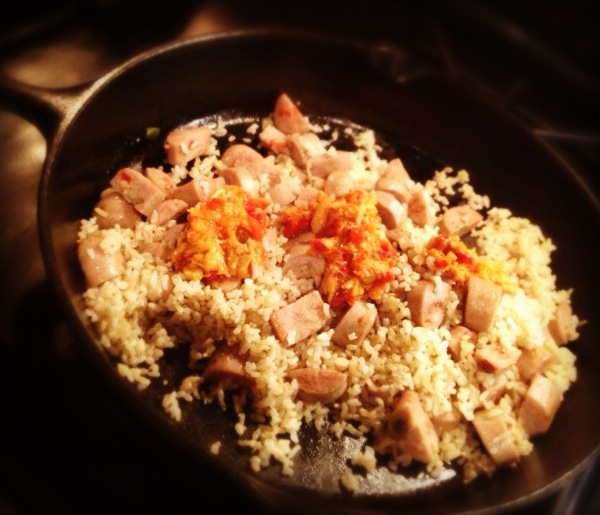 Italian Chicken Sausage with Brown Rice and Tapenade in Skillet.jpg