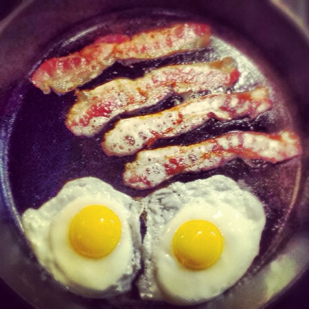 Sizzling Bacon and Eggs Overeasy.JPG