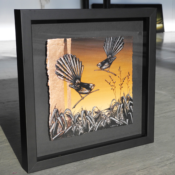 Fantail Gold Iconic Series  - 34 X 34cm - Gold Leaf & Inks - NZ timber framed
